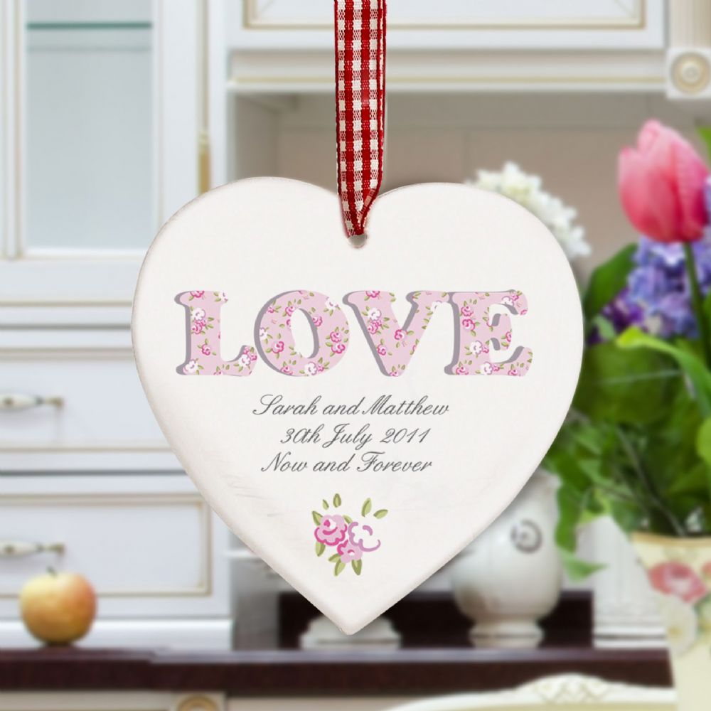 Personalised Floral Design Love Wooden Heart Shaped Decoration